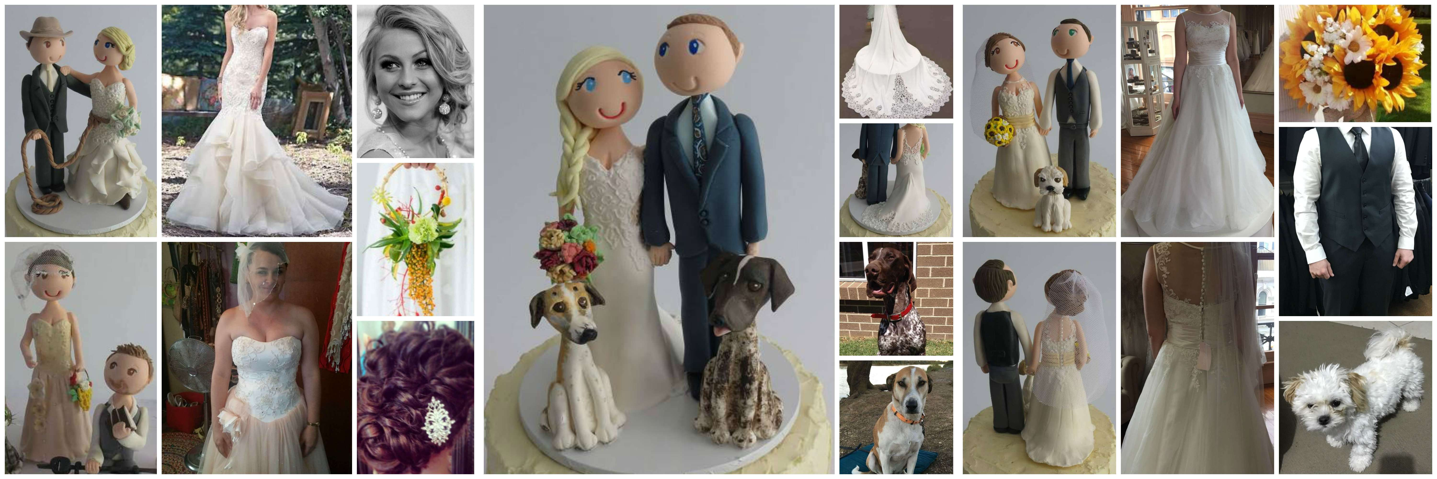 Personalised Bride and Groom figurines Cake Toppers image 1