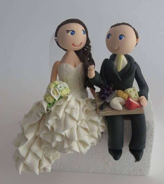 Bride & Groom with cheese platter cake topper