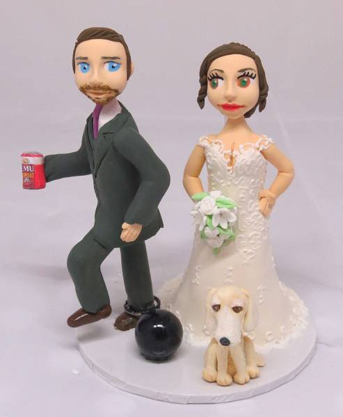 Bride & Groom Cake Topper Ball & Chain
