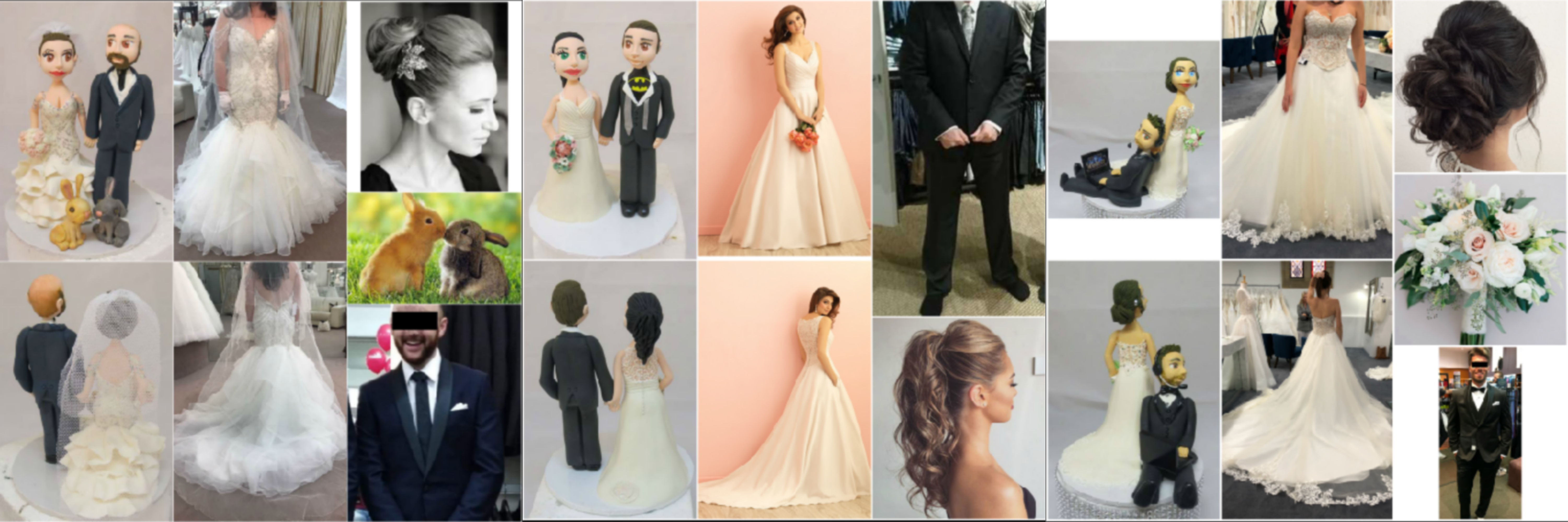 Personalised Bride and Groom figurines Cake Toppers
