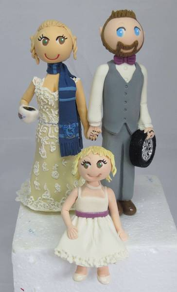 Bride & Groom & Child Cake Topper