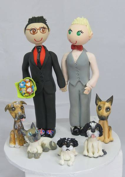 Same Sex Cake Topper with dogs & Cats