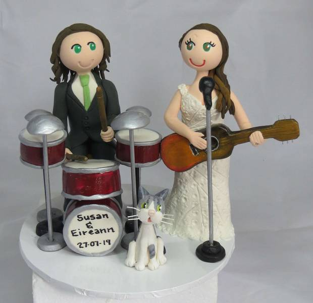 Bride playing Guitar & Groom playing drums with cat Cake Topper