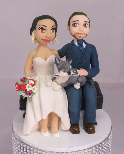 Bride & Groom & cat Cake Topper