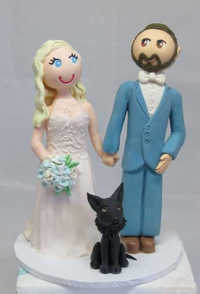 Bride & Groom & dog Cake Topper