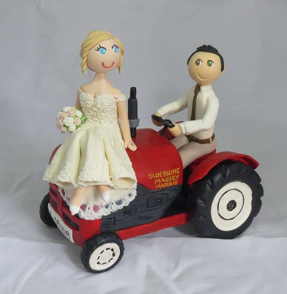 Groom driving tractor with bride on bonnet