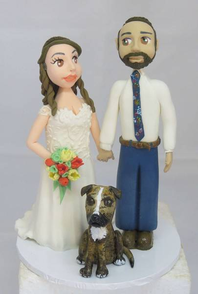 Standing Bride & Groom with dog cake topper