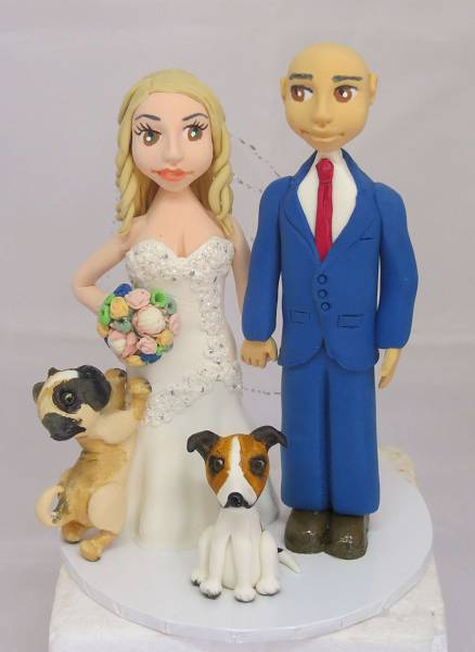 Standing Bride & Groom with dogs cake topper