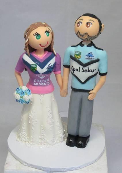 """""""footy fans"""" wedding cake topper"""