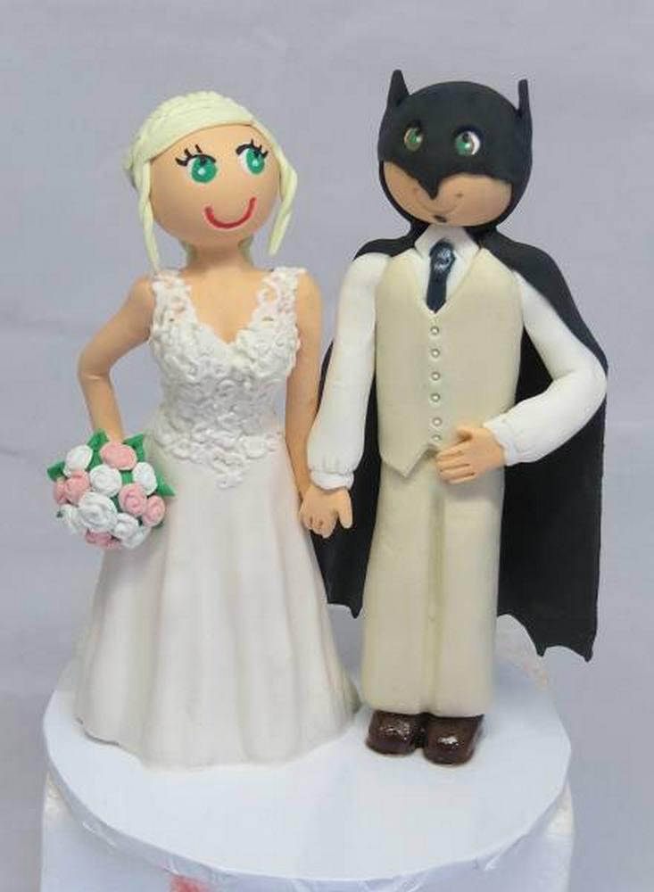 Bride & Batman groom cake topper