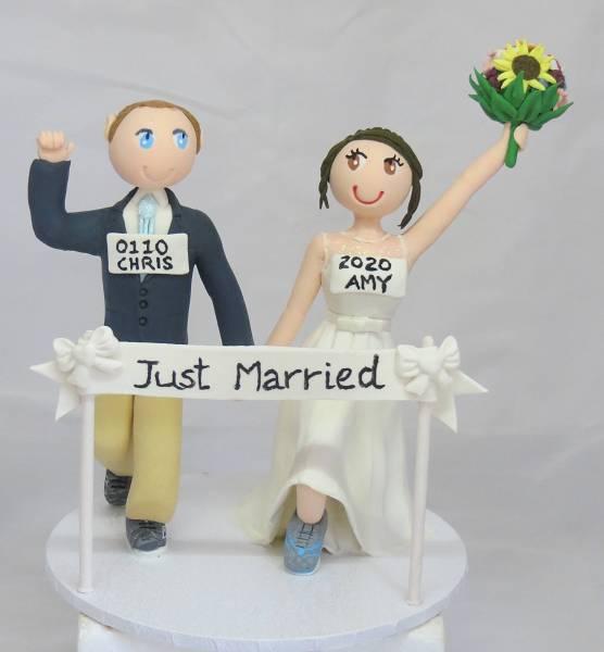 Running Bride & Groom Cake Topper