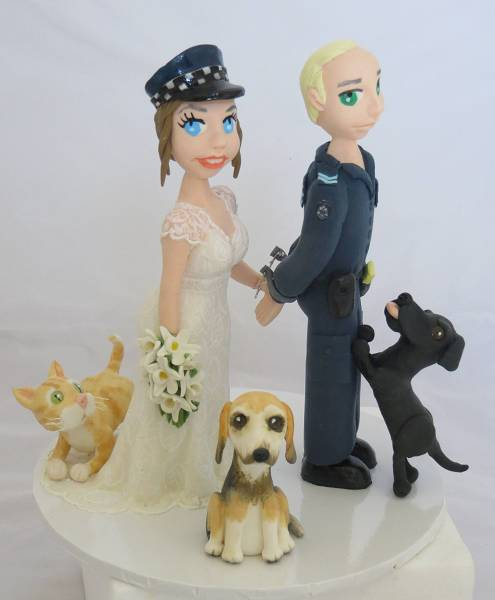 Bride aresting Police Groom Wedding Cake Toppers