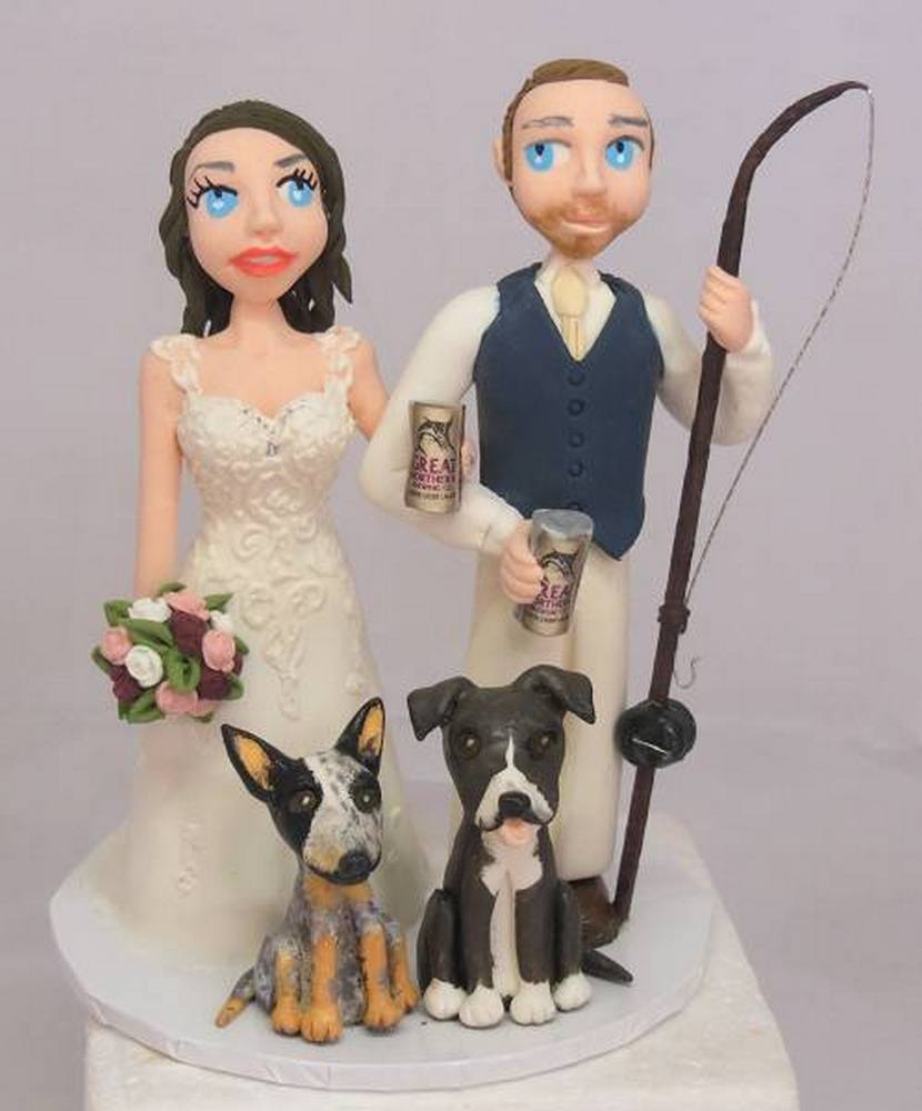 Fishing Wedding Cake Topper with dogs