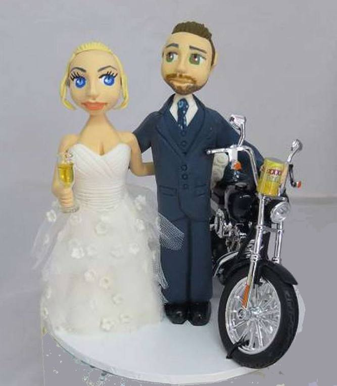 Bride & Groom with Motorcycle Cake Toppe