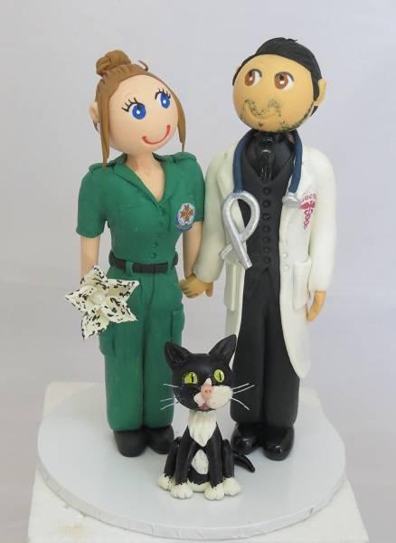 Dr Groom & Paramedic Bride Cake Topper
