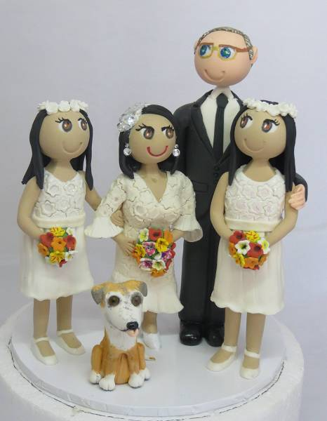 Bride & Groopm with children Cake Topper